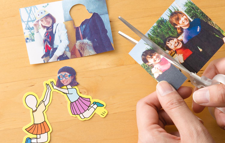 2,顔写真を切り取ってフェイスインペーパーフレークに貼る